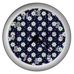 Daisy Dots Navy Blue Wall Clocks (silver)