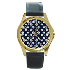 Daisy Dots Navy Blue Round Gold Metal Watch