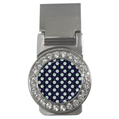 Daisy Dots Navy Blue Money Clips (cz)