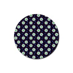 Daisy Dots Navy Blue Rubber Coaster (round)