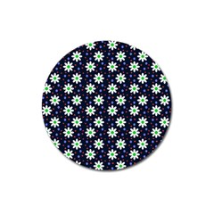 Daisy Dots Navy Blue Magnet 3  (round)