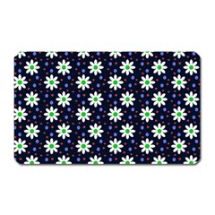 Daisy Dots Navy Blue Magnet (rectangular)