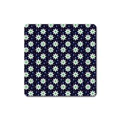 Daisy Dots Navy Blue Square Magnet