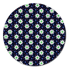 Daisy Dots Navy Blue Magnet 5  (round)