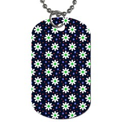 Daisy Dots Navy Blue Dog Tag (two Sides)