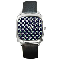 Daisy Dots Navy Blue Square Metal Watch
