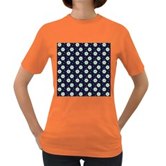 Daisy Dots Navy Blue Women s Dark T Shirt