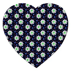 Daisy Dots Navy Blue Jigsaw Puzzle (heart)