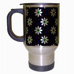 Daisy Dots Navy Blue Travel Mug (silver Gray)