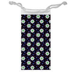 Daisy Dots Navy Blue Jewelry Bag