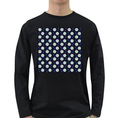 Daisy Dots Navy Blue Long Sleeve Dark T Shirts