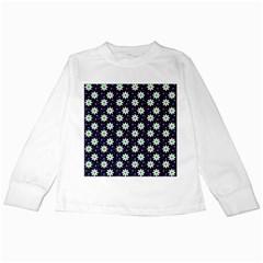 Daisy Dots Navy Blue Kids Long Sleeve T Shirts