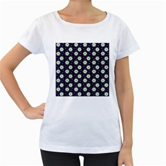 Daisy Dots Navy Blue Women s Loose Fit T Shirt (white)