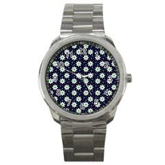 Daisy Dots Navy Blue Sport Metal Watch