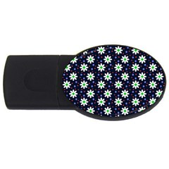 Daisy Dots Navy Blue Usb Flash Drive Oval (4 Gb)