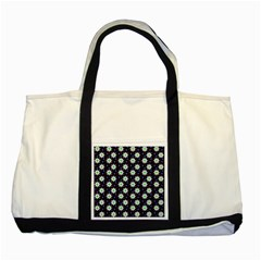 Daisy Dots Navy Blue Two Tone Tote Bag