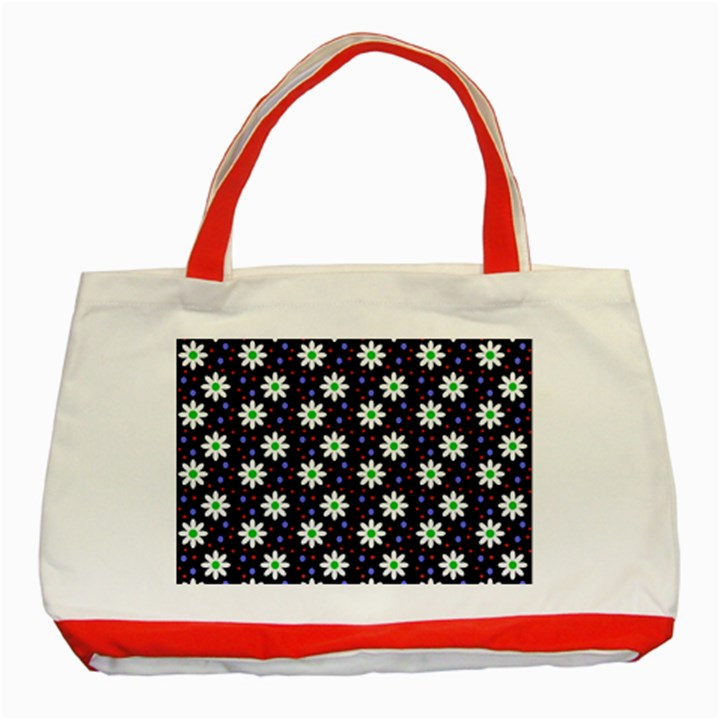 Daisy Dots Navy Blue Classic Tote Bag (Red)