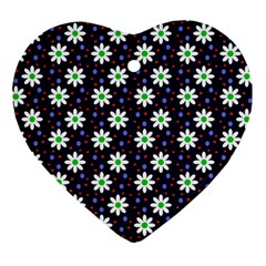 Daisy Dots Navy Blue Heart Ornament (two Sides)