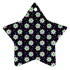 Daisy Dots Navy Blue Star Ornament (two Sides)
