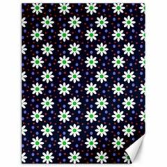 Daisy Dots Navy Blue Canvas 12  X 16