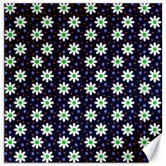 Daisy Dots Navy Blue Canvas 16  X 16