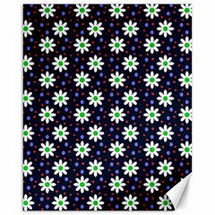 Daisy Dots Navy Blue Canvas 16  X 20