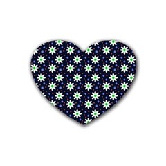 Daisy Dots Navy Blue Rubber Coaster (heart)