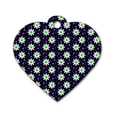 Daisy Dots Navy Blue Dog Tag Heart (one Side)
