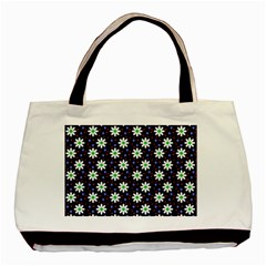 Daisy Dots Navy Blue Basic Tote Bag (two Sides)
