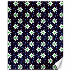 Daisy Dots Navy Blue Canvas 11  X 14