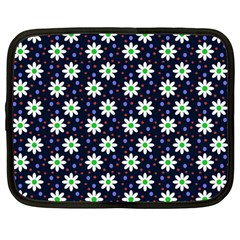 Daisy Dots Navy Blue Netbook Case (large)