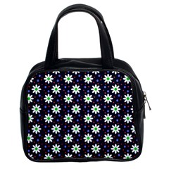 Daisy Dots Navy Blue Classic Handbags (2 Sides)