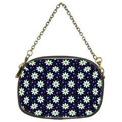 Daisy Dots Navy Blue Chain Purses (two Sides)