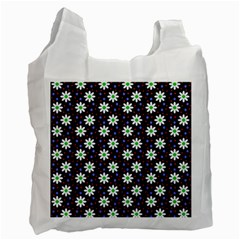 Daisy Dots Navy Blue Recycle Bag (one Side)
