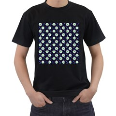 Daisy Dots Navy Blue Men s T Shirt (black)