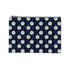 Daisy Dots Navy Blue Cosmetic Bag (large)