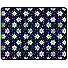 Daisy Dots Navy Blue Fleece Blanket (medium)