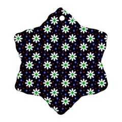 Daisy Dots Navy Blue Snowflake Ornament (two Sides)