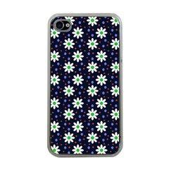 Daisy Dots Navy Blue Apple Iphone 4 Case (clear)