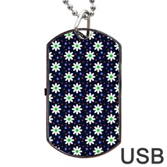 Daisy Dots Navy Blue Dog Tag Usb Flash (two Sides)