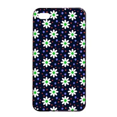 Daisy Dots Navy Blue Apple Iphone 4/4s Seamless Case (black)