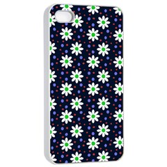 Daisy Dots Navy Blue Apple Iphone 4/4s Seamless Case (white)