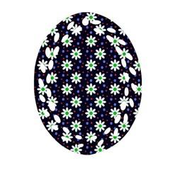 Daisy Dots Navy Blue Ornament (oval Filigree)
