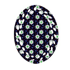 Daisy Dots Navy Blue Oval Filigree Ornament (two Sides)