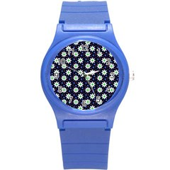 Daisy Dots Navy Blue Round Plastic Sport Watch (s)