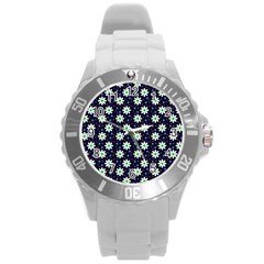 Daisy Dots Navy Blue Round Plastic Sport Watch (l)