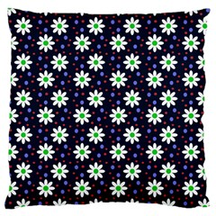 Daisy Dots Navy Blue Large Cushion Case (two Sides)