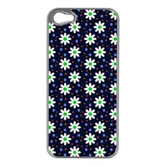Daisy Dots Navy Blue Apple Iphone 5 Case (silver)