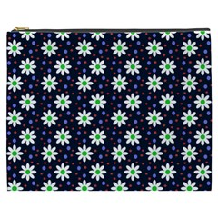 Daisy Dots Navy Blue Cosmetic Bag (xxxl)