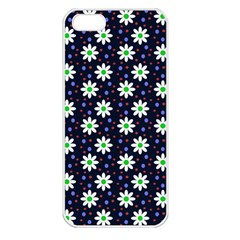 Daisy Dots Navy Blue Apple Iphone 5 Seamless Case (white)